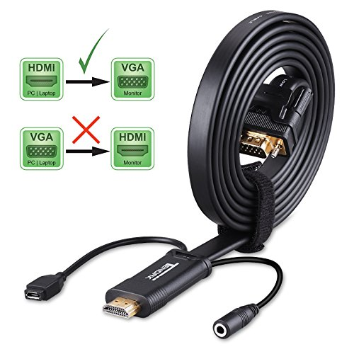 Plasma Tv Nexus (HDMI to VGA Cable with Audio - Tendak 6ft HDMI to VGA Cable Adapter Converter and Audio Out with External Micro USB Power Supply for Laptop PC Projector HDTV STB Support 1080P)