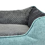 Premium Linen Pet Bed By Cozy Cuddlerz - Ultra Soft Plush Pillow Interior - Luxurious Style & Elegant Design - Suitable For Cats & Small Dogs - 2 Available Colors: Light Gray & Turquoise