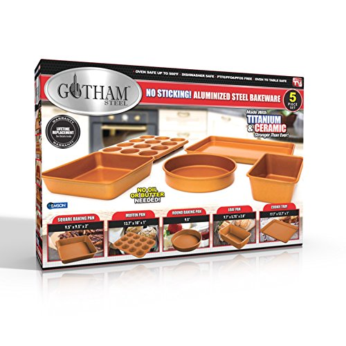Gotham Steel 5 Piece Copper Bakeware Set with Nonstick Ti-Cerama Coating, Super Strong 0.8MM Gauge,  Includes Cookie Sheet, Muffin Pan, Large Baking Pan, Loaf Pan and Round Baking Pan by GOTHAM STEEL