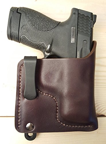 S&W M&P Compact 9mm .40 .45 Brown or Black Molded Leather Concealed Carry Holster IWB Tuckable Hybrid Glock 19 23 26 27 Walther PPK Ruger SP101 LCR LCP LC9 LC9s Springfield XDs S&W J Frame M&P Compact