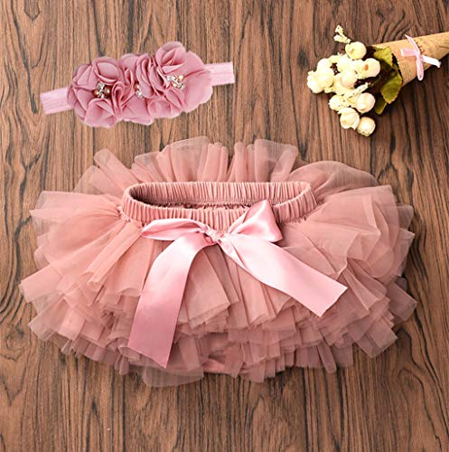 Baby Girls Tutu Skirt Headband Set Toddler Ruffle Tulle Diaper Covers 6-24 Months