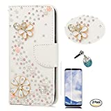 STENES Galaxy S9 Plus Case - 3D Handmade S-Link Flowers Wallet Card Slots Fold Leather Cover Case Blue Cute Night Owl Dust Plug,Screen Protector for Samsung Galaxy S9 Plus - White