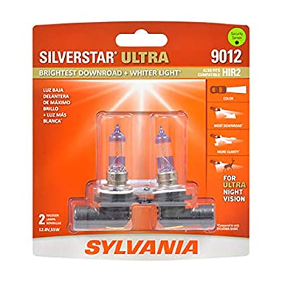 SYLVANIA - 9012 SilverStar Ultra - High Performance Halogen Headlight Bulb, High Beam, Low Beam and Fog Replacement Bulb, Brightest Downroad with Whiter Light, Tri-Band Technology (Contains 2 Bulbs): Automotive