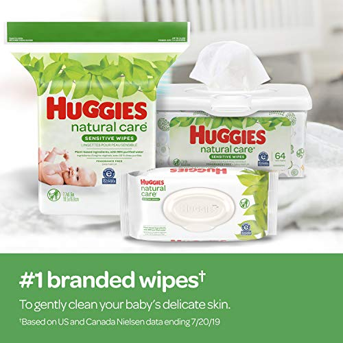 Huggies Natural Care Sensitive Baby Wipes, Unscented, 3 Refill Packs (624 Wipes Total)