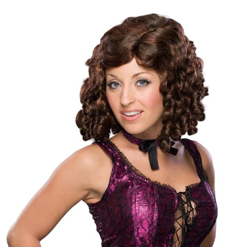 Rubie's Auburn Banana Curl Girl Wig, Brown, One Size (Flapper Brown Wig)