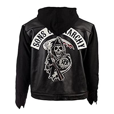 Cheap NMFashions Sons Of Anarchy Highway Black Hooded Synthetic Leather Jacket free shipping