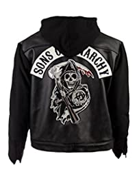 Sons of Anarchy Highway Black Hooded Synthetic Leather Jacket