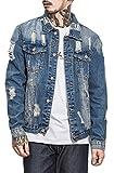 Jaycargogo Mens Classic Long Sleeve Solid Casual Loose Hole Washed Denim Jacket Blue M