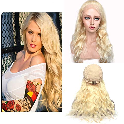 Lace Front Human Hair Wig Body Wave Blonde Wig 613 Half Lace Front Wigs 13x4 Lace Base With Baby Hair 130% Density Brazilian Virgin Human Hair Wigs For Black Women Natural Hairline Free Part(22 Inch)