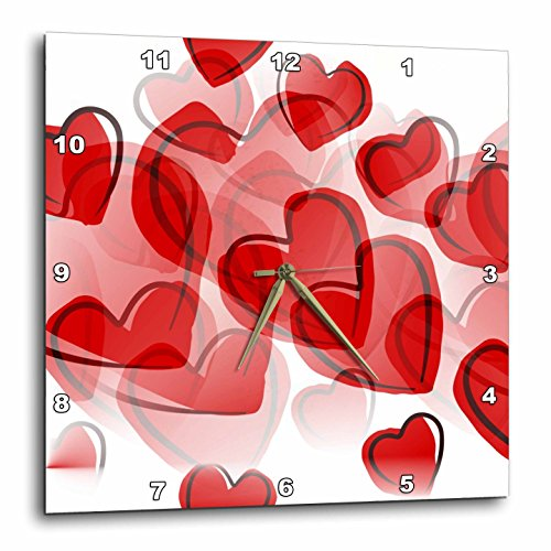 3dRose  Love Red Hearts-Lovable Art-Valentines Day-Wall Clock - valentines day wall art