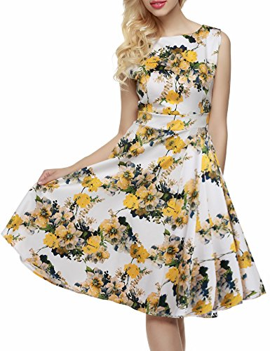 1950's Yellow Garden Floral Vintage Picnic Light Dress Party Spring ACEVOG Women's Sleeveless A7wExYfPq