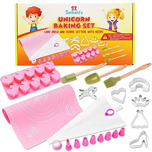 Fun Kids Unicorn Cookie Baking Set with Cupcake Mold, Cookie Cutters, 8 Frosting Decorating Tips, Kid Size Spatula, Brush, Spoon. Frosting Bag, Silicone Mat with Measurements, Delicious Recipes