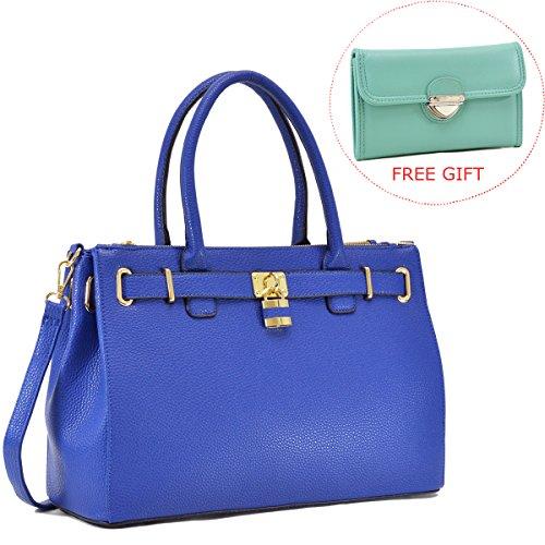 Dasein Womens Top Handle Satchel Handbags Tote Designer Purse Padlock Shoulder Bag