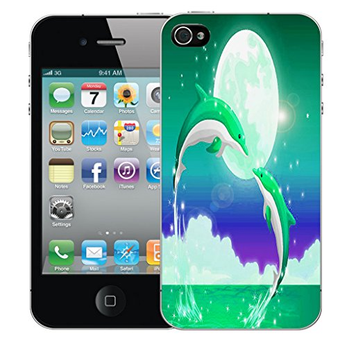 Mobile Case Mate iPhone 4s Silicone Coque couverture case cover Pare-chocs + STYLET - Jumping Dolphin pattern (SILICON)