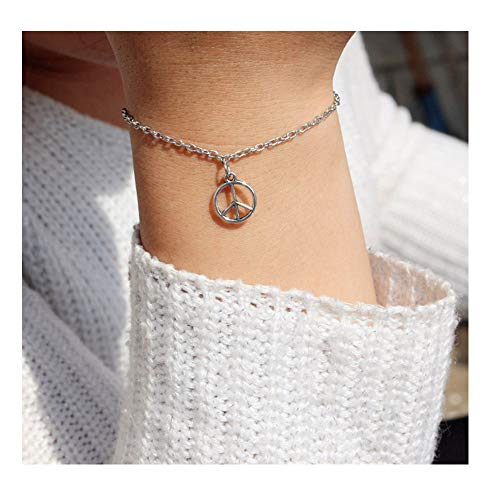 RUIZHEN Silver Peace Sigh Symbol Adjustable Chain Bracelet for Girls -