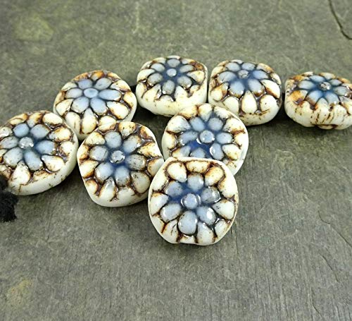 (Jewelry Making Supplies - Porcelain Beads, Artisan Porcelain Coin Beads, Blue Flower Beads, Off-White and Blue Beads, 15mm Puffed Coin, Double Sided Design - Qty. 2)