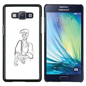 "For Samsung Galaxy A5 ( A5000 ) 2014 Version Case , Hombre Campesino Arte del dibujo de lápiz de carbón Sombrero"" - Diseño Patrón Teléfono Caso Cubierta Case Bumper Duro Protección Case Cover Funda"