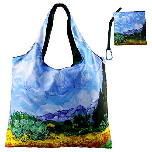 Reusable Grocery Bags with Zipper Closure,Foldable into Zippered Pocket … (AWheatfield withCypresses)