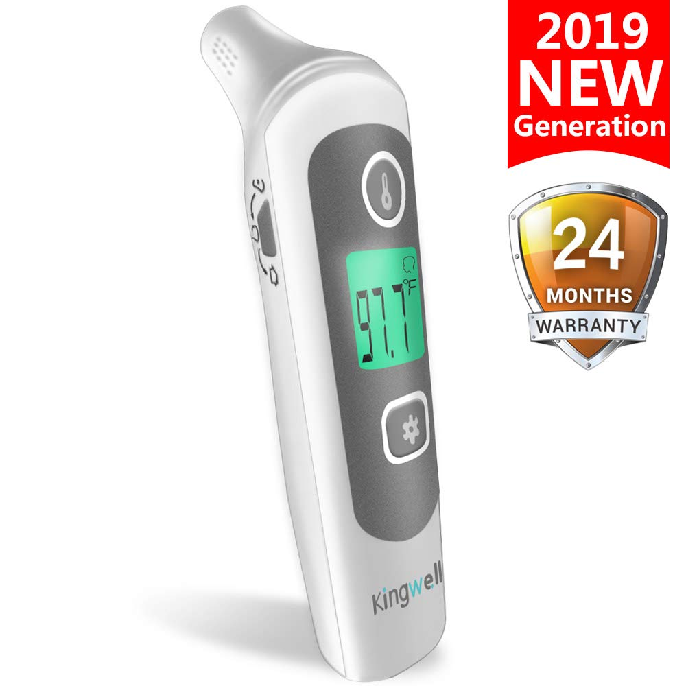 KingWell Infrared Forehead and Ear Thermometer for Fever - Instant Read Baby Thermometer, Medical Digital Thermometer 32 Memory Recall for Baby, Kids and Adults