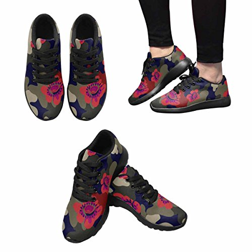 InterestPrint Womens Jogging Running Sneaker Lightweight Go Easy Walking Comfort Sports Running Shoes Camouflage With Red Flower and Dot Multi 1 x0fdEi