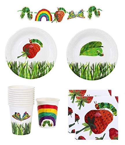 Caterpillar Party Supplies (The Very Hungry Caterpillar Party Supplies Pack for 12 Guests Including Plates, Napkins, Cups And 9 Foot)