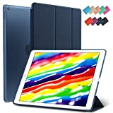New iPad 9.7-inch 2018 2017 Case, ROARTZ Navy Blue Slim-Fit Smart Rubber Folio Hard Translucent Frosted Cover Light-Weight Wake Sleep for Apple iPad 5th 6th Generation Model A1893 A1954 A1822 A1823