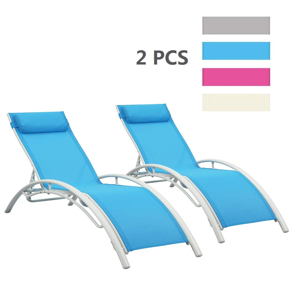 LEISURELIFE Adjustable Chaise Lounge Chairs Outdoor with Pillow, 2 PCS, Blue, Aluminum, Zero Gravity
