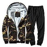 Luweki Sweatshirts Sale Clearance Autumn Winter Casual Warm Camouflage Top Pants Sets Casual Suit Tracksuit(Khaki,2XL