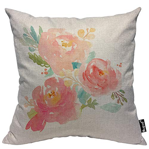 (Mugod Peony Throw Pillow Case Watercolor Peonies Flowers Bouquet Pastel Pink Green White Decorative Cotton Linen Square Cushion Covers Standard Pillowcase Couch Sofa Bed Men/Women 18x18 Inch)