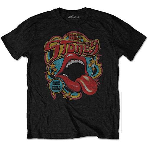 Rolling Stones Men's Retro 70's Vibe Vintage T-Shirt Large Black