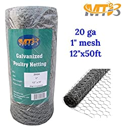 "MTB Galvanized Hexagonal Poultry Netting,Chicken Wire 12""x50'- 1"" 20GA (Also Sold in 25'& 150' Length)"