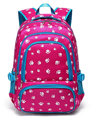 Lightweight Girls School Bags for Kids Kindergarten Primary Backpack Bookbags for Children (Hot Pink&Blue)