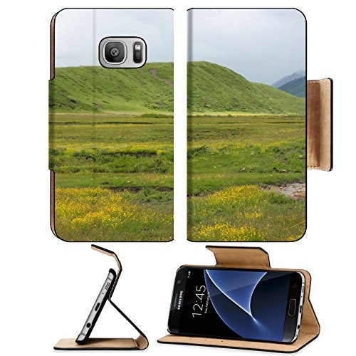 Luxlady Premium Samsung Galaxy S7 Flip Pu Leather Wallet Case IMAGE ID: 34483175 Beautiful grassland full of yellow flowers in Hongyuan Sichuan - T Hills Chino Mobile