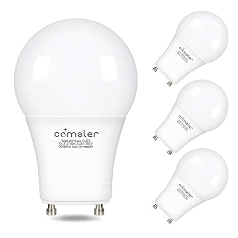 Comzler GU24 Light Bulb 72W Equivalent, 9W A19 LED Bulbs with GU24 Twist-in