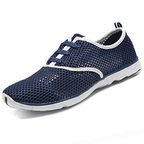 Women Men Aqua Water Shoes Summer Beach Mesh Breathable Quick Drying Lightweight Lace-up Casual Walking Shoes Grey JdU63