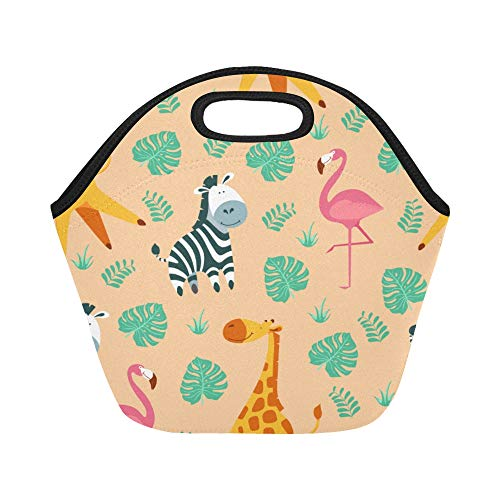 Insulated Neoprene Lunch Bag Cartoon Funny Animals Zebra Large Size Reusable Thermal Thick Lunch Tote Bags Lunch Boxes For Outdoor Work Office School ()