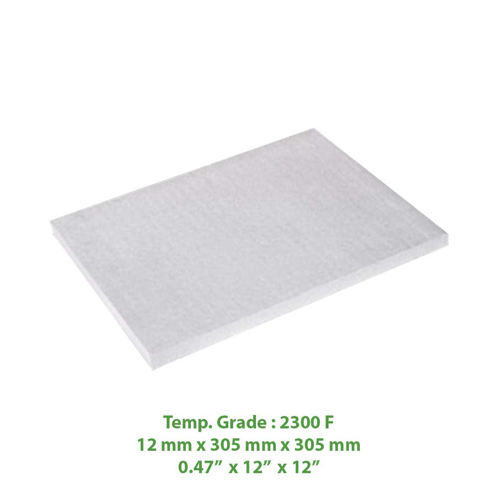 Ceramic Fiber Insulation Board (2300 F) (0.47'' X 12'' X 12'') for Thermal Insulation in Wood Stoves, Fireplaces, Pizza Ovens, Kilns, Forges & More. by Simond Store