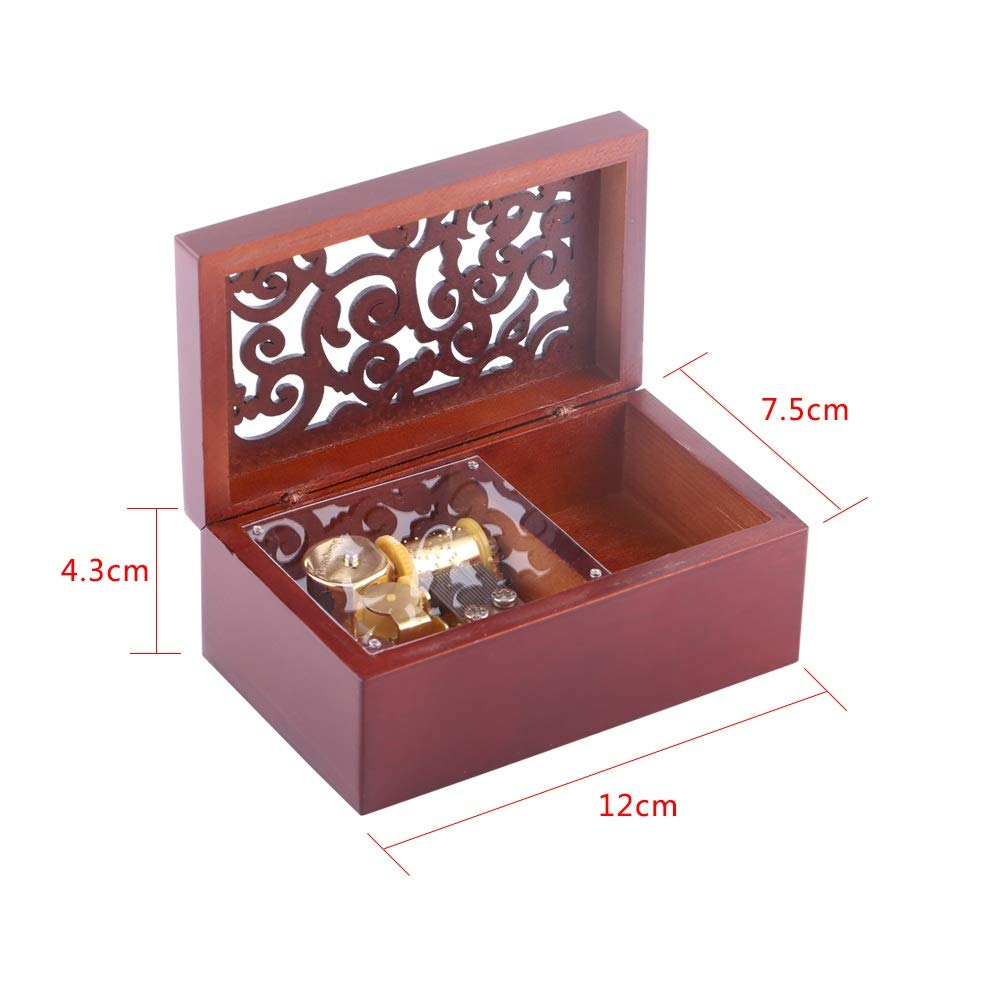 Color : Gold 1Pc Solid Wood Miniature Hollow 18 Note Wind Up Music Box Jewelry Case Musical Toys Gifts SH-RuiDu Direct Store Wooden Music Box