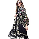 DANA XU 100% Pure Wool Women Winter Large Scarf Pashmina (Black Flower)