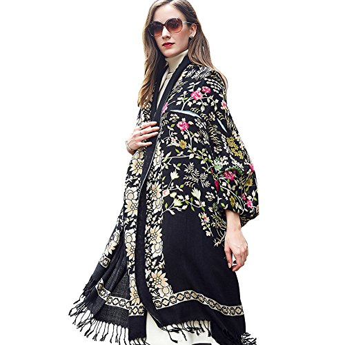 DANA XU 100% Pure Wool Women Winter Large Scarf Pashmina (Black Flower) - Winter Wool Scarf