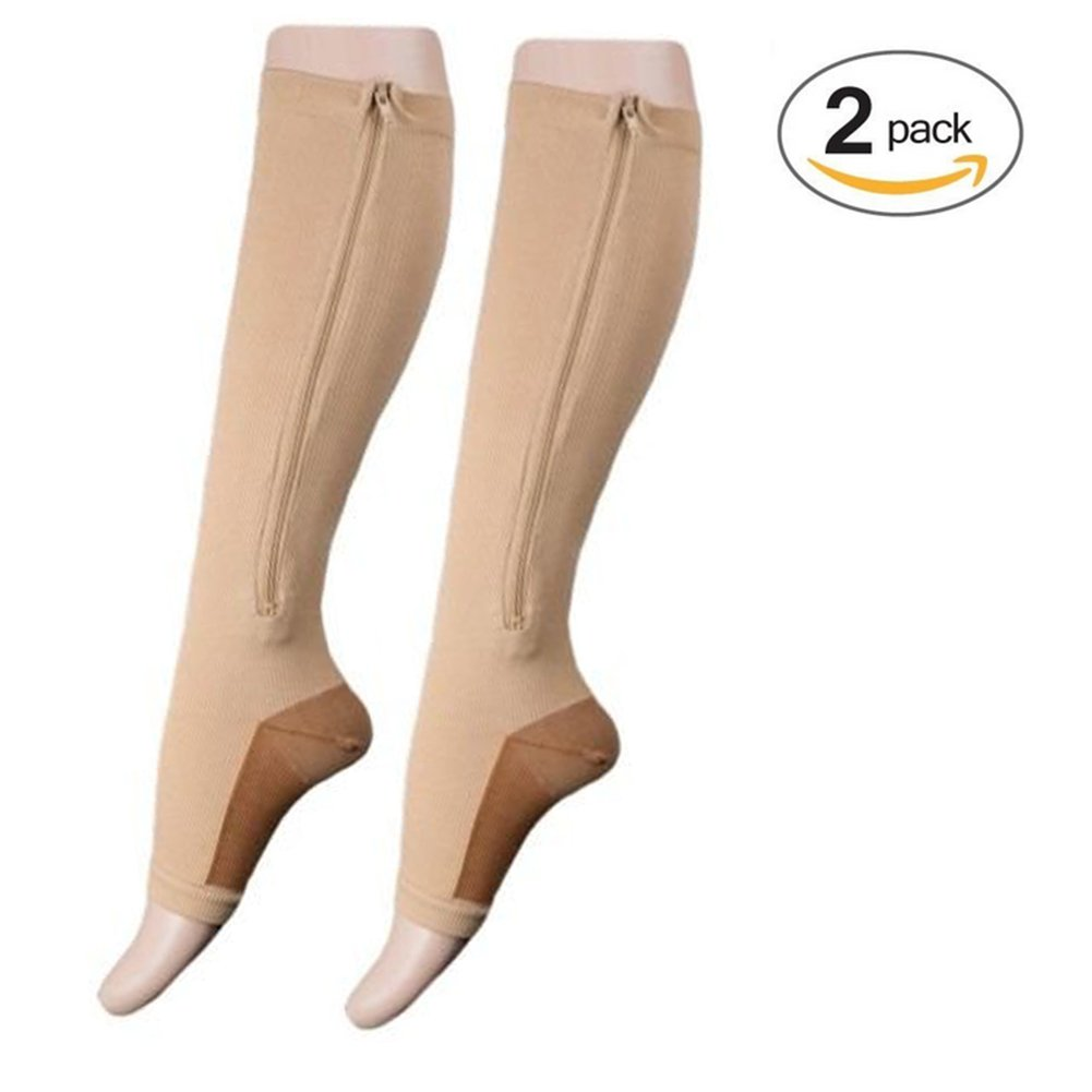 Lingssss Zip Compression Socks Medical, 2 Pair Toeless Nurse Compression Socks with Zipper Easy on off 15-20 mmHg for Varicose Veins, Edema, Swollen or Sore Legs