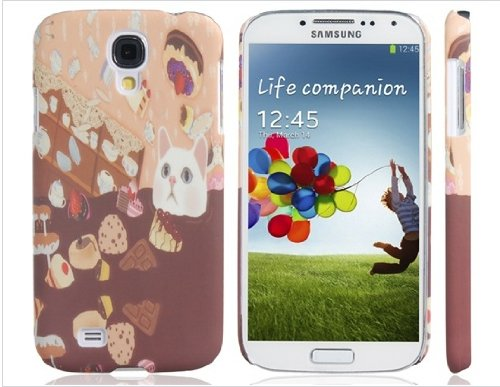 Cute Cat & Delicious Food Print Plastic Protective Case for Samsung Galaxy S4/i9500