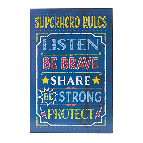 Dicksons Superhero Rules Superman Blue 12 x 18 Wood Decorative Wall Plaque