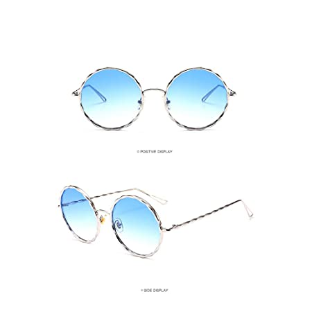 Amazon.com: CapsA Round Polarized Sunglasses Mirrored Lens ...