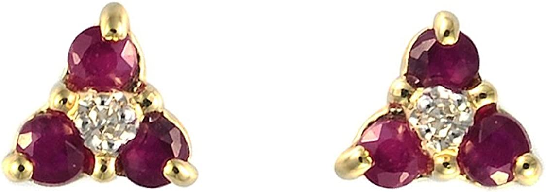 Ivy Gems 9ct Yellow Gold Ruby and Diamond Flower Stud Earrings