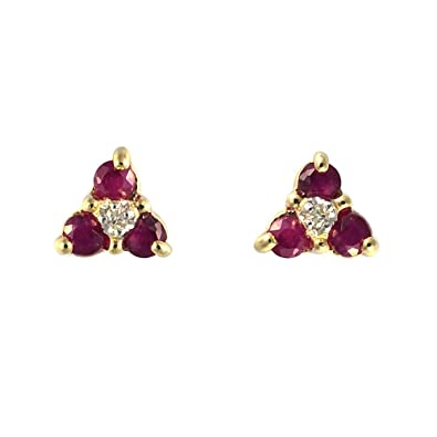 Ivy Gems 9ct Gold Ruby and Diamond Stud Earrings M9Pua