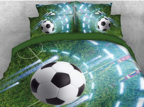 (Wowelife 3D Soccer Comforter Set Queen Green Playground Kids Soccer Bedding Sets 5 Piece with Comforter, Flat Sheet, Fitted Sheet and 2 Pillow Cases(Green Soccer, Queen))