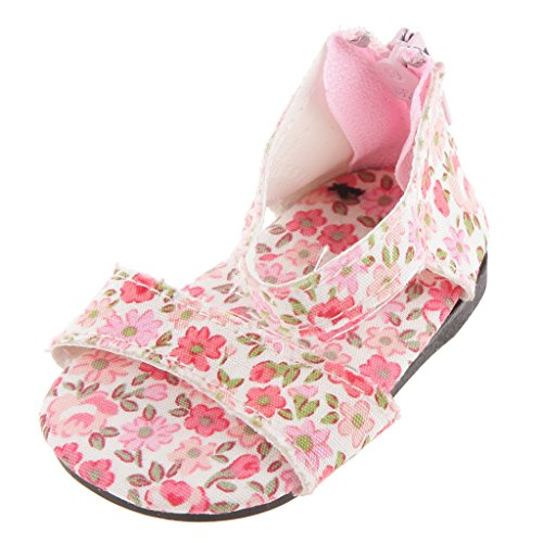 """Paire Chaussures Zip Sandale Princess Elegant pour American Girl 18"""" Poupées Filles - Floral"""