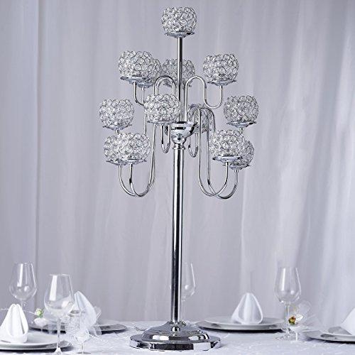 Efavormart 39.5'' Silver Crystal Beaded 13 Arm Candelabra Chandelier Votive Candle Holder Wedding Centerpiece by Efavormart.com (Image #4)