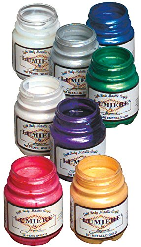 Lumiere Fabric - Jacquard Non-Toxic Lumiere Paint Set, 2.25 oz Bottle, Assorted Metallic and Pearlescent Color, Set of 8